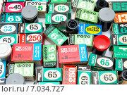 Купить «Россыпь различных фотопленок», эксклюзивное фото № 7034727, снято 15 февраля 2014 г. (c) Александр Тараканов / Фотобанк Лори