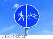 Купить «Дорожный знак 4.4 - Велосипедная дорожка и 4.5 - Пешеходная дорожка, на фоне голубого неба», фото № 7037527, снято 24 июля 2014 г. (c) Михаил Рудницкий / Фотобанк Лори