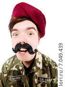 Купить «Funny soldier in military concept», фото № 7049439, снято 19 апреля 2014 г. (c) Elnur / Фотобанк Лори