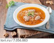 Купить «Суп харчо с ткемали и грецкими орехами», фото № 7056883, снято 25 февраля 2015 г. (c) Лариса Дерий / Фотобанк Лори