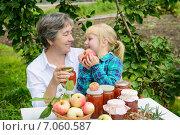 Купить «Счастливые бабушка и внучка за столом с домашними заготовками на даче», фото № 7060587, снято 25 августа 2013 г. (c) Марина Славина / Фотобанк Лори