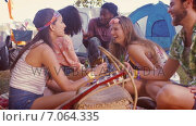 Купить «In high quality format hipsters having fun in their campsite», видеоролик № 7064335, снято 24 января 2019 г. (c) Wavebreak Media / Фотобанк Лори