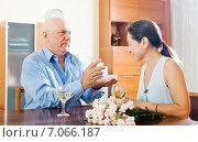 Купить «Happy mature man giving woman the jewel», фото № 7066187, снято 14 декабря 2019 г. (c) Яков Филимонов / Фотобанк Лори