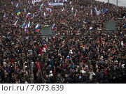 Купить «Многотысячная толпа в центре российской столицы», фото № 7073639, снято 1 марта 2015 г. (c) Николай Винокуров / Фотобанк Лори