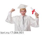 Купить «Young male student graduated from high school on white», фото № 7084951, снято 17 января 2014 г. (c) Elnur / Фотобанк Лори