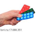 Лекарства в руке пожилой женщины. Стоковое фото, фотограф Сергей Боженов / Фотобанк Лори
