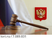 Купить «Судейский молоток на фоне флага и герба Российской Федерации», фото № 7089831, снято 6 марта 2015 г. (c) Денис Ларкин / Фотобанк Лори