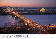 Купить «Вечерний Нижний Новгород», фото № 7090431, снято 17 февраля 2015 г. (c) Елена Ковалева / Фотобанк Лори