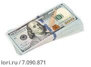 Купить «Пачка долларов на белом фоне», фото № 7090871, снято 3 марта 2015 г. (c) Александр Лычагин / Фотобанк Лори