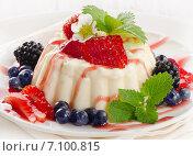 Купить «Delicious sweet dessert with fresh berries .», фото № 7100815, снято 20 августа 2013 г. (c) Tatjana Baibakova / Фотобанк Лори