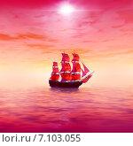 Купить «Восход солнца. Одинокий парусник», иллюстрация № 7103055 (c) ElenArt / Фотобанк Лори