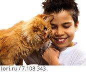 Мальчик с рыжим котом. Стоковое фото, фотограф Юлия Нигматуллина / Фотобанк Лори