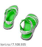 Купить «Зелёные летние сандалии на белом фоне», фото № 7108935, снято 12 июля 2014 г. (c) Анна Полторацкая / Фотобанк Лори