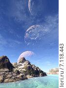 Купить «Чужая планета. Скалы и луна», иллюстрация № 7118443 (c) Parmenov Pavel / Фотобанк Лори
