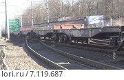 Купить «Товарный поезд. Порожняк», видеоролик № 7119687, снято 13 марта 2015 г. (c) Звездочка ясная / Фотобанк Лори