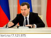 Купить «Председатель правительства РФ Дмитрий Медведев», эксклюзивное фото № 7121975, снято 25 февраля 2015 г. (c) Андрей Дегтярёв / Фотобанк Лори