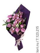Букет цветов. Орхидеи и розы на белом фоне. Стоковое фото, фотограф Андрей Новосёлов / Фотобанк Лори