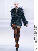 Купить «NEW YORK, NY - FEBRUARY 13: A model walks at Nina Athanasiou Runway at MBFW Fall 2015 at The Designer's Loft on February 13, 2015 in NYC.», фото № 7129727, снято 13 февраля 2015 г. (c) Anton Oparin / Фотобанк Лори