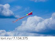 Воздушный змей в небе с облаками. Стоковое фото, фотограф Ермолаева Дина / Фотобанк Лори