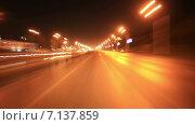 Город Уфа, таймлапс ночной дороги города (2014 год). Редакционное видео, видеограф R.I.Production / Фотобанк Лори