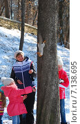 Купить «Мама с дочками кормят белку в парке», фото № 7138695, снято 21 февраля 2015 г. (c) Инесса Гаварс / Фотобанк Лори