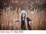 Девушка-волчица. Стоковое фото, фотограф Ирина Кузнецова / Фотобанк Лори