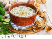 Купить «Таратор, болгарский кисломолочный суп в керамическом ковше на столе», фото № 7147247, снято 16 марта 2015 г. (c) Надежда Мишкова / Фотобанк Лори