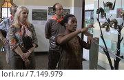 Африканская женщина гид в Национальном музее Танзании проводит экскурсию. Африка (2014 год). Редакционное видео, видеограф Кекяляйнен Андрей / Фотобанк Лори