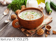 Таратор, суп с йогуртом, огурцами и грецкими орехами в супнице. Стоковое фото, фотограф Надежда Мишкова / Фотобанк Лори