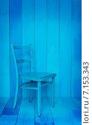 Купить «Синий стул на синем фоне», фото № 7153343, снято 20 февраля 2015 г. (c) Влад  Плотников / Фотобанк Лори