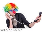 Купить «Businessman with clown wig isolated on white», фото № 7155167, снято 15 ноября 2013 г. (c) Elnur / Фотобанк Лори