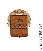 Купить «Сувенирный магнит из бересты с изображением герба города Калуги», эксклюзивное фото № 7168299, снято 20 мая 2019 г. (c) Илюхина Наталья / Фотобанк Лори