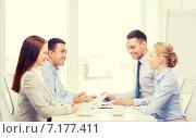 Купить «business team having meeting in office», фото № 7177411, снято 5 апреля 2014 г. (c) Syda Productions / Фотобанк Лори