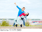 Купить «couple of teenagers dancing outside», фото № 7177583, снято 20 июля 2013 г. (c) Syda Productions / Фотобанк Лори