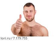 Купить «Muscular bodybuilder guy doing exercises with dumbbells isolated over white background», фото № 7179755, снято 22 марта 2019 г. (c) Александр Савченко / Фотобанк Лори