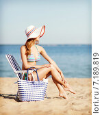 Купить «girl sunbathing on the beach chair», фото № 7189819, снято 11 июля 2013 г. (c) Syda Productions / Фотобанк Лори