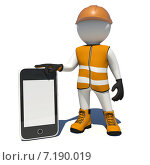 Купить «3d человечек рабочий держит смартфон», иллюстрация № 7190019 (c) Кирилл Черезов / Фотобанк Лори