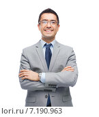 Купить «happy smiling businessman in eyeglasses and suit», фото № 7190963, снято 29 января 2015 г. (c) Syda Productions / Фотобанк Лори