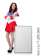 Купить «Woman with poster isolated on white», фото № 7205063, снято 15 июня 2013 г. (c) Elnur / Фотобанк Лори