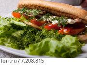 Гамбургер с курицей. Стоковое фото, фотограф Игорь Чекаев / Фотобанк Лори