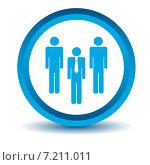 Синяя круглая иконка с изображением лидера и команды на белом фоне. Стоковая иллюстрация, иллюстратор Иван Рябоконь / Фотобанк Лори