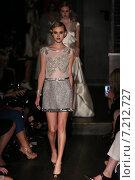Купить «NEW YORK, NY - OCTOBER 09: A model walks runway at Johanna Johnson runway Show during Fall 2015 Bridal Collection on October 09, 2014 in NYC.», фото № 7212727, снято 9 октября 2014 г. (c) Anton Oparin / Фотобанк Лори