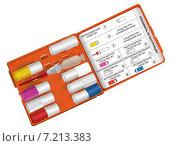 Оранжевая аптечка с таблетками в пеналах. Стоковая иллюстрация, иллюстратор Евгений Кулагин / Фотобанк Лори