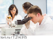 Купить «Science student looking through microscope in the lab», фото № 7214915, снято 17 июня 2014 г. (c) Wavebreak Media / Фотобанк Лори
