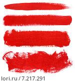 Купить «Красные мазки кисти, гуашь», фото № 7217291, снято 21 февраля 2015 г. (c) Роман Самохин / Фотобанк Лори