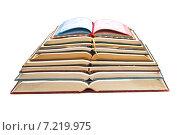 Стопка раскрытых книг на белом фоне. Стоковое фото, фотограф Николай Полищук / Фотобанк Лори
