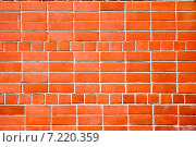 Купить «Красная кирпичная стена, фон», фото № 7220359, снято 7 апреля 2007 г. (c) Vladimirs Koskins / Фотобанк Лори