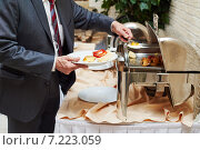Купить «swedish buffet style breackfast», фото № 7223059, снято 2 апреля 2015 г. (c) Дмитрий Калиновский / Фотобанк Лори