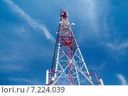 Купить «Антенна сотовой связи на фоне неба», фото № 7224039, снято 4 апреля 2015 г. (c) Андрей Пашков / Фотобанк Лори