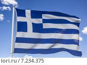Купить «Развевающийся флаг Греции на фоне неба. 3д-модель», эксклюзивная иллюстрация № 7234375 (c) Виктор Тараканов / Фотобанк Лори